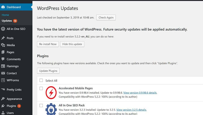 Update WordPress themes and plugins 2